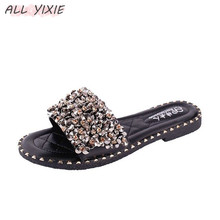 ALL YIXIE Brand 2019 New Fashion  Solid Flat With Slippers Women Slides Peep Toe Sandals Sexy Casual Rhinestone Non-slip Shoes