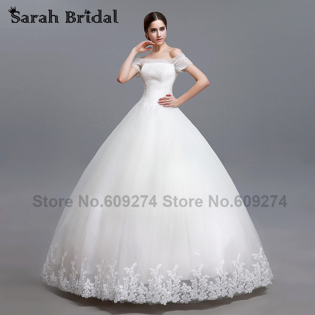 Luxurious Crystal Beading Ball Gown Wedding Dresses 2016 Short Sleeves Lace Gowns White Sequines Vestidos