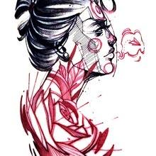 Временная татуировка стикер большого размера боди-арт цветок Роза женщина самолет Водная передача поддельные татуировки флеш-тату для женщин и мужчин