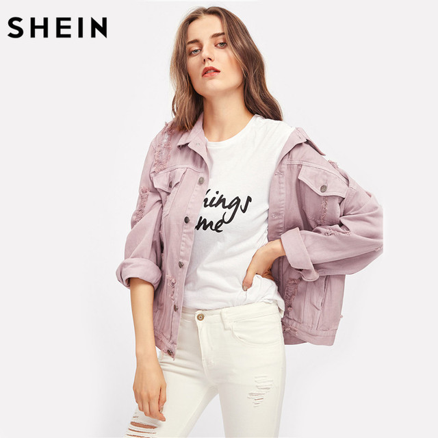 SHEIN Rips Detail Boyfriend Denim Jacket Autumn Womens Jackets and Coats Pink Lapel Single Breasted Casual Fall Jacket 8