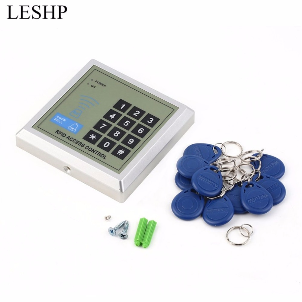 LESHP Security Electronic RFID Proximity Entry Door Lock Access Control System + 10 Key Fobs Password Access Control Door Opener rfid standalone access control keypad 125khz card reader door lock with 10 proximity key fobs for door security system k2000