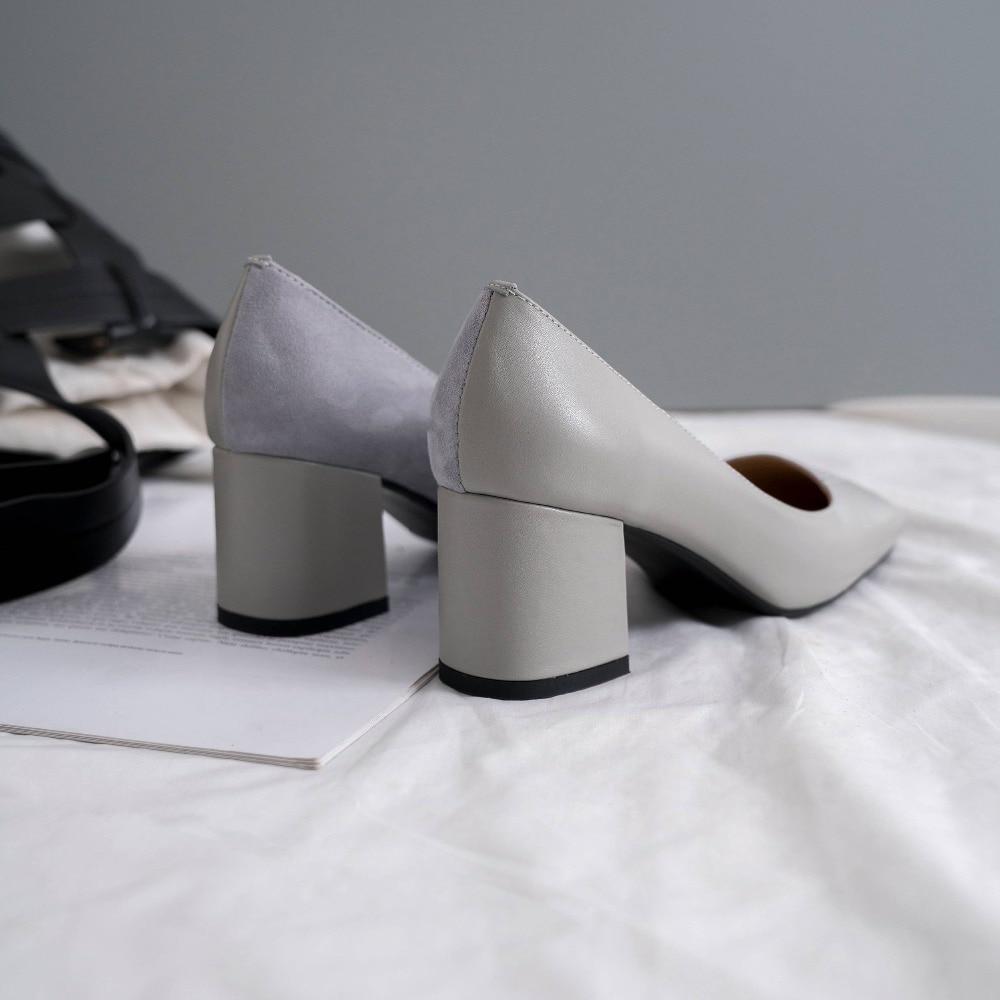 Krazing Pot nouveau en cuir véritable chunky med talons sans lacet robe datant pompes patchwork bout carré bureau dame printemps chaussures L44-in Escarpins femme from Chaussures    3