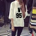 BTS KPOP 2016New Hot Korean version Women black White Cotton Letters printed Spring summer Bat sleeve Fifth sleeve T-Shirt Shirt