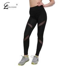 CHRLEISURE S-XL Women's Leggings Sexy Plus Size Mesh Patchwork Leggings Activewear Adventure Time Black Sportwear Leggings Women