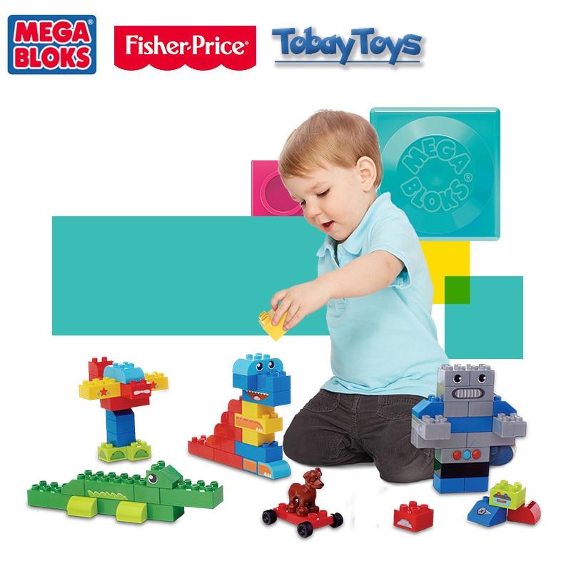 Véritable Fisher Price Mega Bloks brique jouet moyen constructeurs série construire mon monde bloc accessoires CYR23 boîte de rangement Bloco FBC11