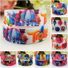 7/8'' (22mm) Trolls Cartoon Character printed Grosgrain Ribbon party decoration satin ribbons OEM 10 Yards 7 8 22mm owl cartoon character printed grosgrain ribbon party decoration satin ribbons oem 10 yards