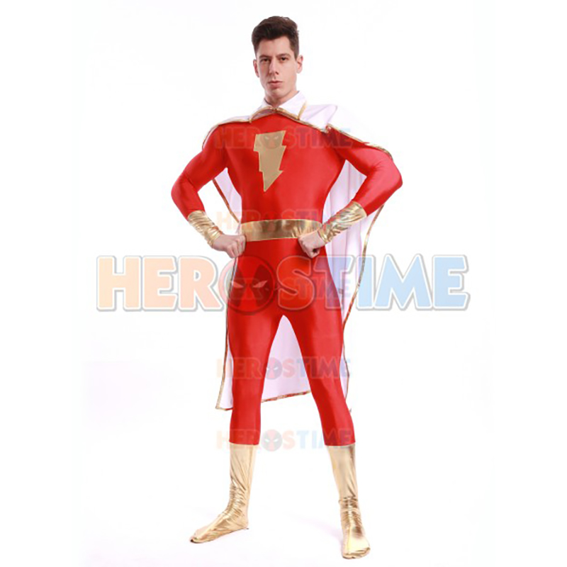 High Quality Adult/Childrens Halloween Mens Shazam Costumes Spandex Lycra Custom Made Super Hero Comics Cosplay Movie Jumpsuit