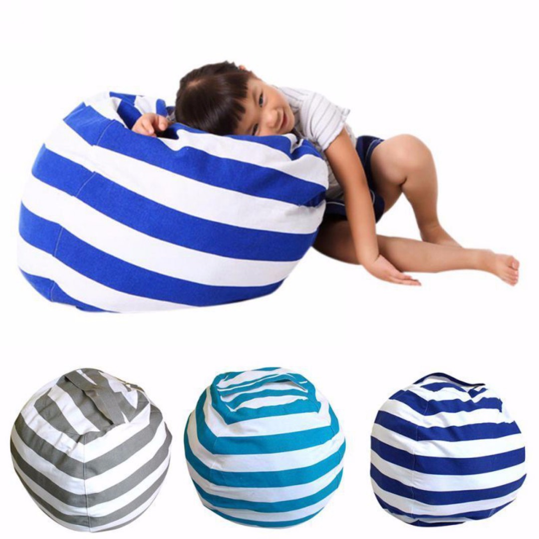 2018 Cotton Kids Stuffed Animal Plush Toy Storage Bean Bag Soft Pouch Stripe Fabric Chair ...