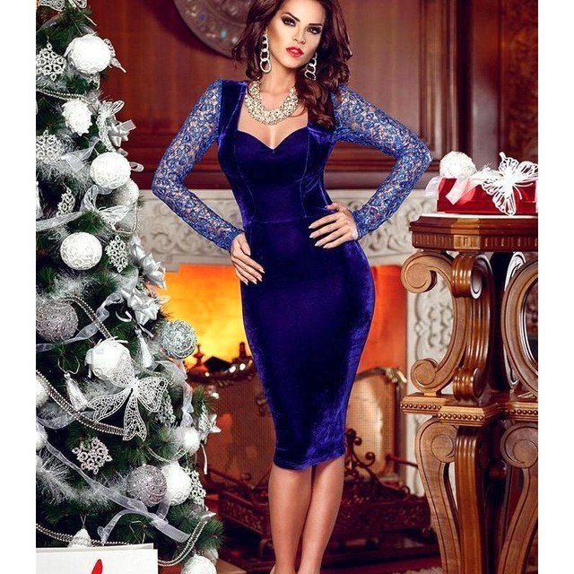f6478a0f702 Royal Blue Velvet Cocktail Dresses 2016 Vestidos de coctel cortos Sexy Knee  Length Open Back Lace Long Sleeves Party Prom Dress
