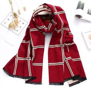 Image 3 - 2020 marca de luxo inverno cachecol caxemira cachecóis para xales e envoltórios xadrez grosso quente macio oversized cobertor echarpe femme