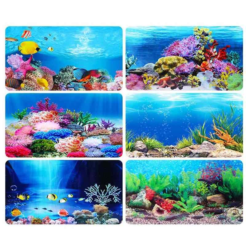 Fish Tank Background Painting 3D Ocean Landscape Poster Fish Tank Background Aquarium Decorative Painting Decals Drop Shipping