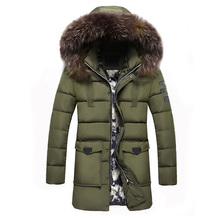 2017 New winter jacket Men's fashion thicke pattern Long Jacket Thicken casual thickened removable cap big fur collar coats