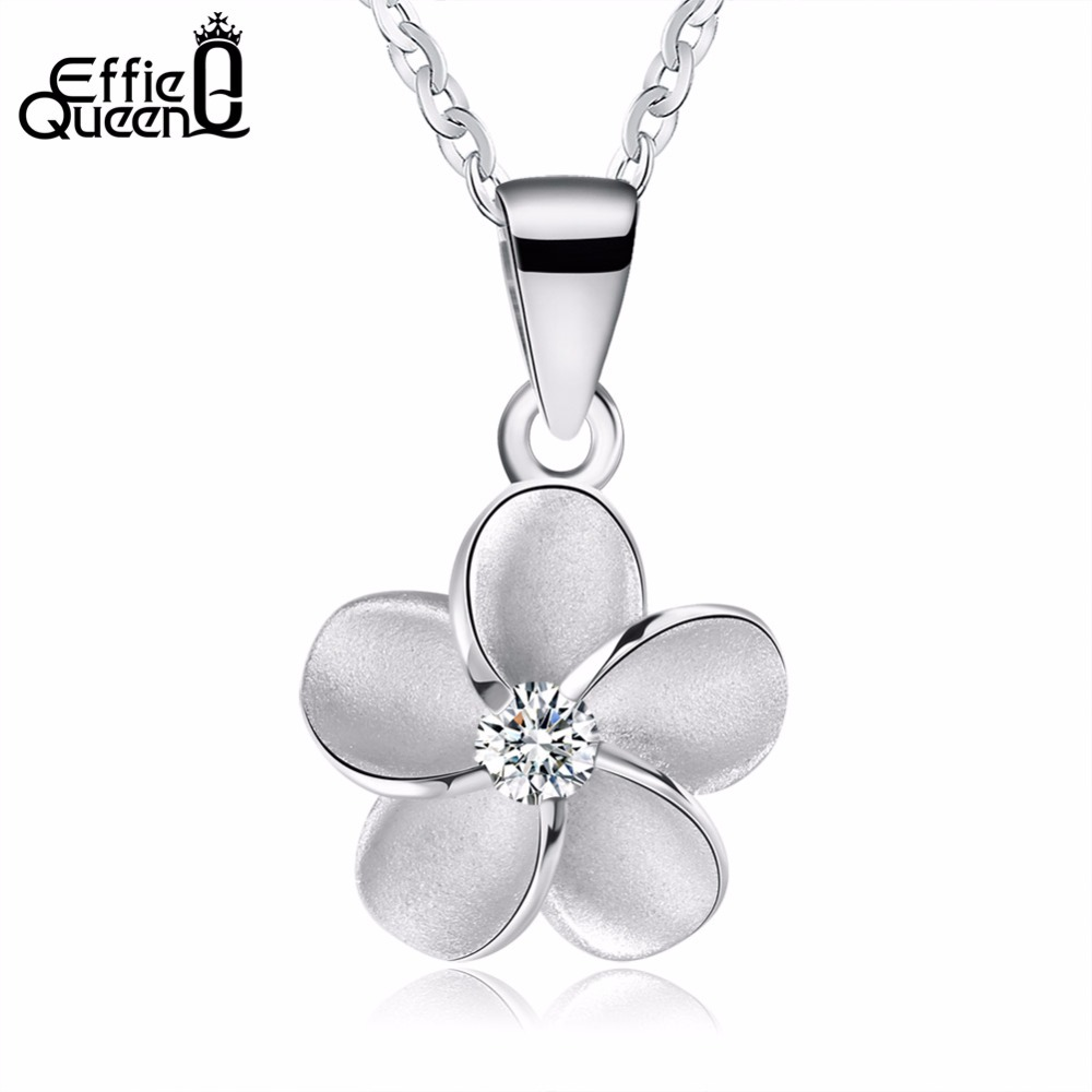 Effie Queen New Women 925 Sterling Silver Chain Simple Flowes