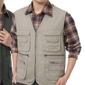 Free Shipping New Style Men Autumn  Multi-pocket Vest Casual Photographer Waistcoat 5 Colors Asian/Tag Size M-2XL