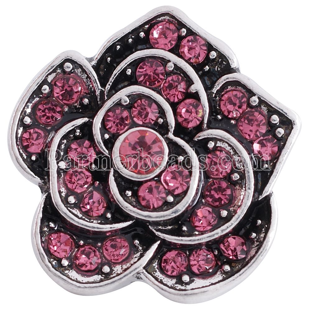 hot sale metal button Interchangeable Accessory 20mm Flower Ginger Snap Fit Button Snaps Bracelet or necklace Jewelry KC6252