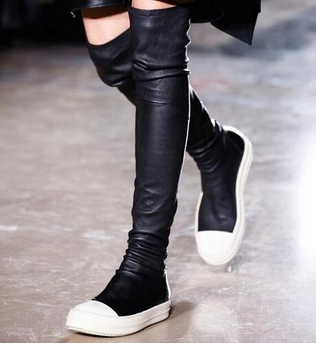 Hot Selling Stretch Leather Stocking Over-the-Knee Boots Black Cap Toe Slip-on Boots Rubber Sole Flat Thigh High Boots Size 43