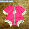 2017 del verano del bebé ropa de algodón de bebé sunsuit borla princesa bebé recién nacido del mameluco del niño del mono del bebé ropa de bebé