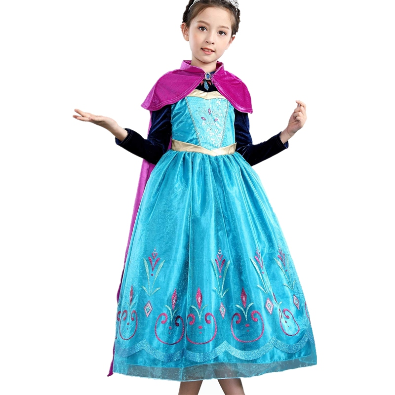 FINDPITAYA Elsa Anna Deluxe Fancy Dress Long Sleeve Sequin Snow Queen Elza Cosplay Princess Costume Kids Pageant Long Cloak Gown