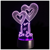 Night Light LED 7 Colors Changing Optical Illusion Lights With Acrylic Flat ABS Base USB Charger