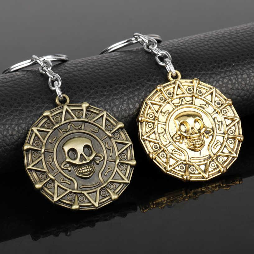 Dongsheng Moda Medalhão Jack Piratas Do Caribe Aztec Coin Pingente Crânio Chaveiros Chaveiro Bronze Presente de Natal-50