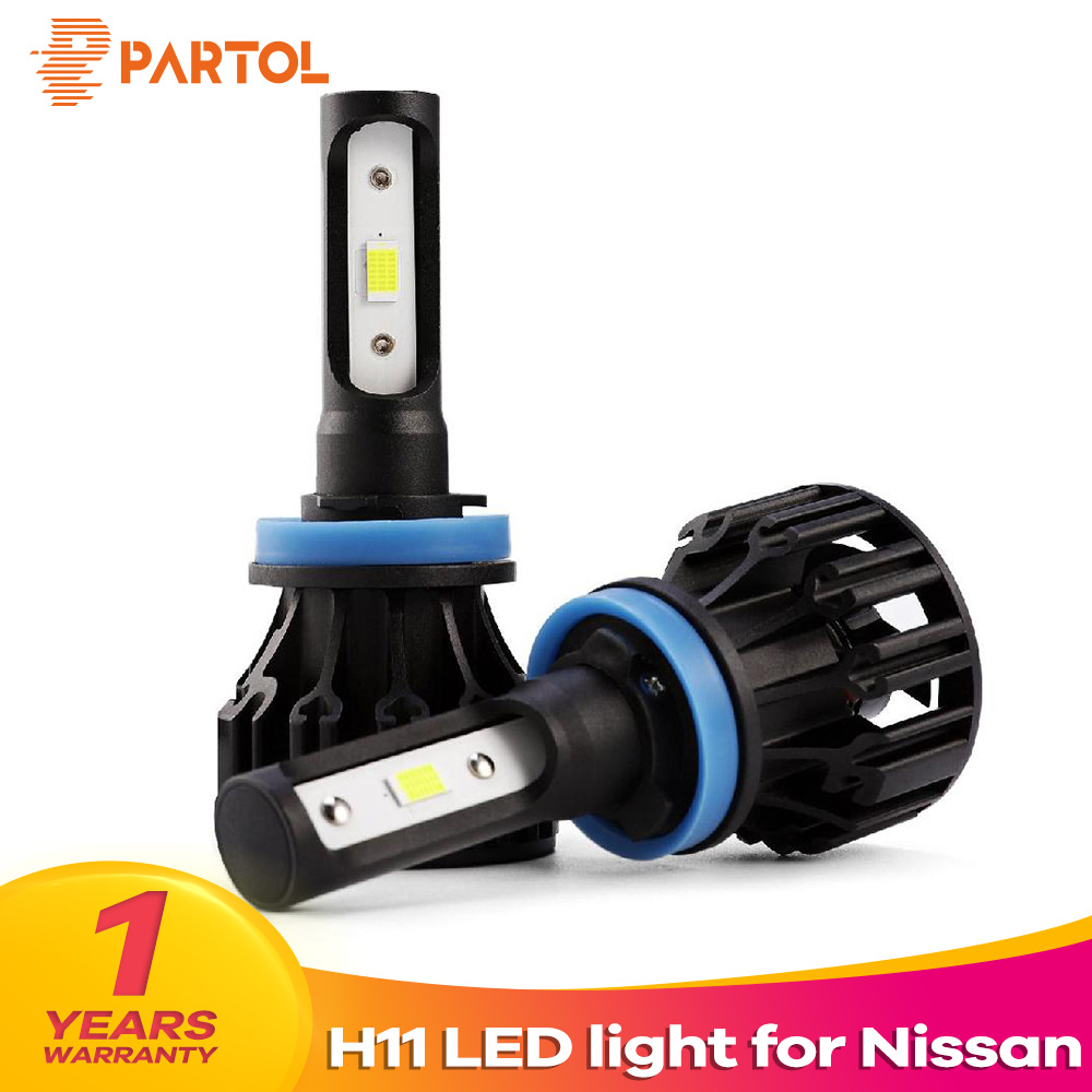 Partol T5 H11 HI/LO Beam Car LED Headlight Bulbs 72W 8000LM Automobile Headlamp Front Light 6500K 12V For Nissan TEANA SYLPHY