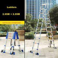 JJS511 Hochwertige Fischgräten Leiter Tragbare Haushalt Verdickung Aluminium Legierung 10 + 10 Schritte Teleskop Leitern (2 95 M + 2 95 M)-in Leitern aus Werkzeug bei