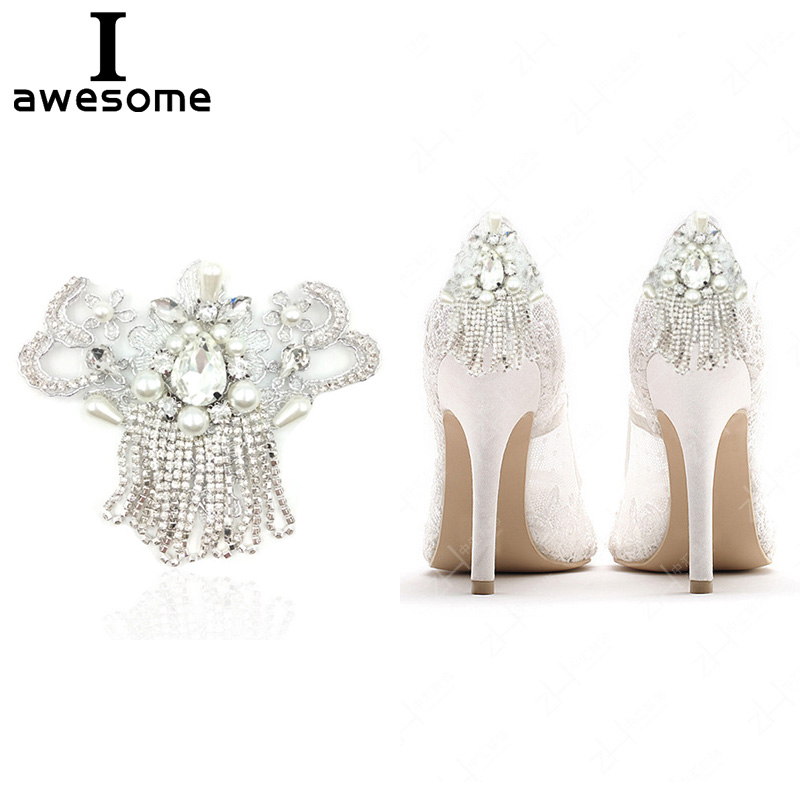 1pcs Chain Bridal Wedding Party Shoes Accessories For High Heels Sandals Boots DIY Manual Rhinestone Decorations Shoe's Flower