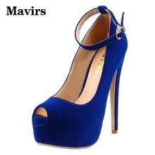 Mavirs 2017 Large Size Peep Toe Sexy High Heels Platform Women Pumps Stiletto Party Dress Wedding Shoes Blue Ladies Pumps
