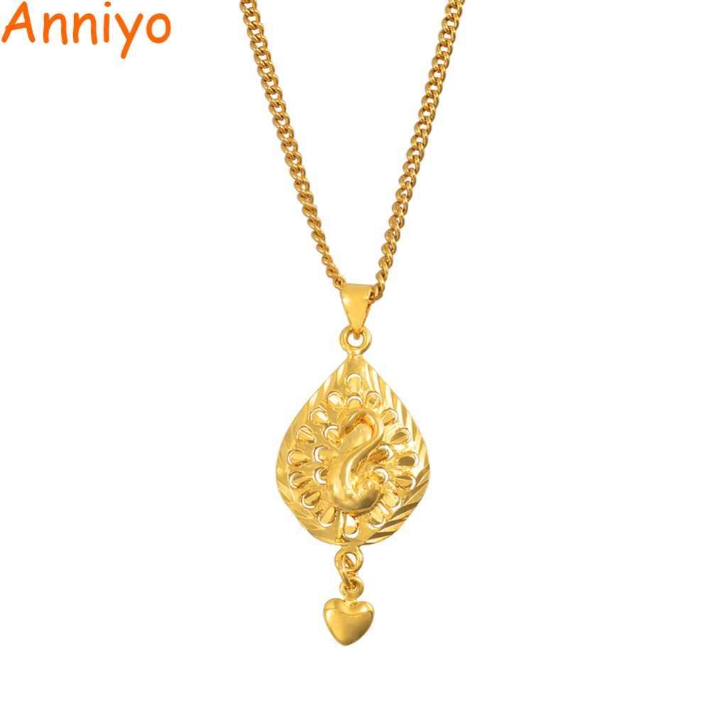 Anniyo Kleine Charme Pfau Vogel Anhänger Kette Halsketten für Frauen Mädchen Gold Farbe Schmuck PNG Geschenke #006509