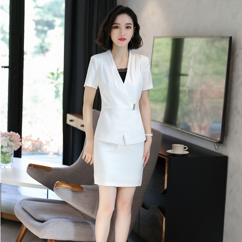 Elegant White Summer Professional Business Blazers Suits With 2 Pieces Tops And Skirt Ladies Office Work Uniforms Sets Plus Size