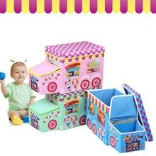 Children Cartoon Trafficking Vehicle storage stool clothes storage box children's toy clothing snack storage box