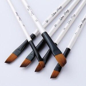 Image 5 - 12 adet/takım naylon saç ahşap saplı suluboya boya fırçası kalem seti öğrenme DIY yağlı boya akrilik sanat boya fırçaları malzemeleri