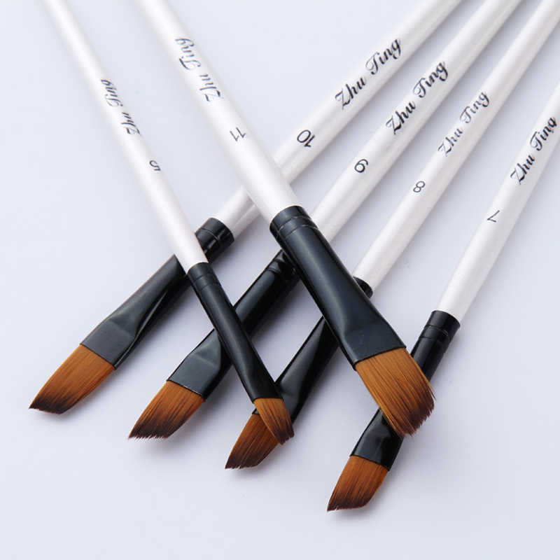 12 unids/set pelo de Nylon mango de madera acuarela pintura pincel Set aprendizaje DIY aceite acrílico pintura arte pinceles suministros