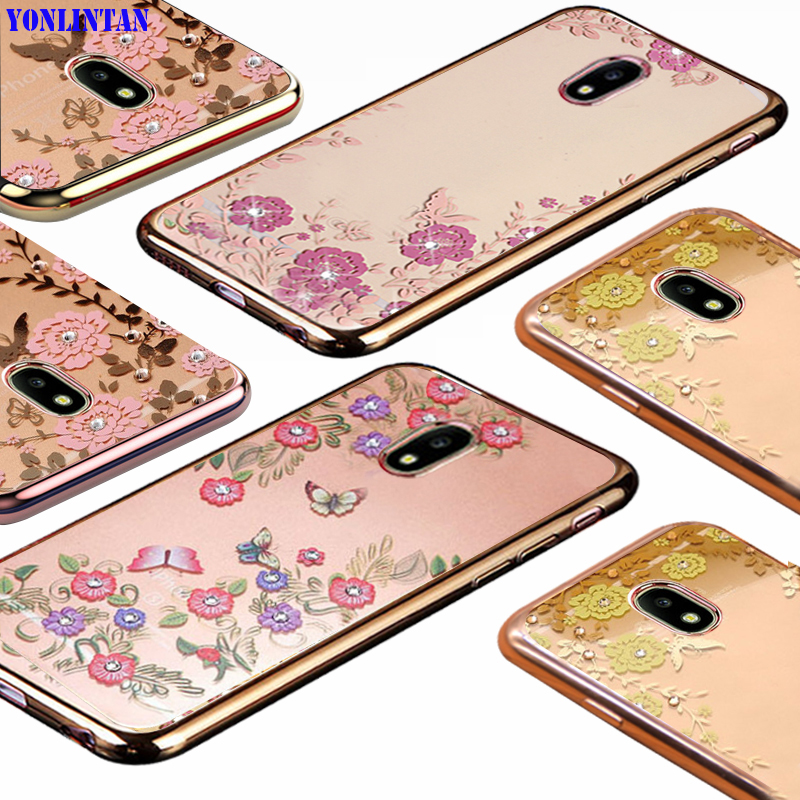 Galleria fotografica YonLinTan luxury etui,coque,case,cover For Samsung Galaxy j3 2017 Pro j330 transparent Diamond phone cases back Soft TPU Flower