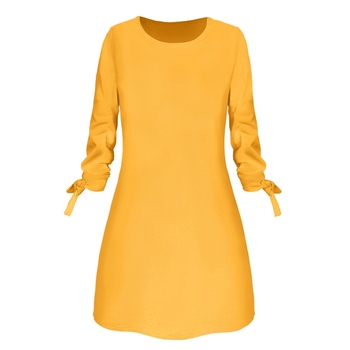 2019 Spring New Fashion Solid Color Dress Casual O-Neck Loose Dresses 3/4 Sleeve Bow Elegant Beach Female Vestidos Plus Size 1