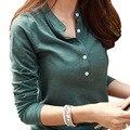 Весна Осень Свободные Повседневная Blusa Solid t shirt Женщины Стенд Шеи плюс Размер Женщины Топы Черный Белый Темно-Зеленый футболка Одежды A563