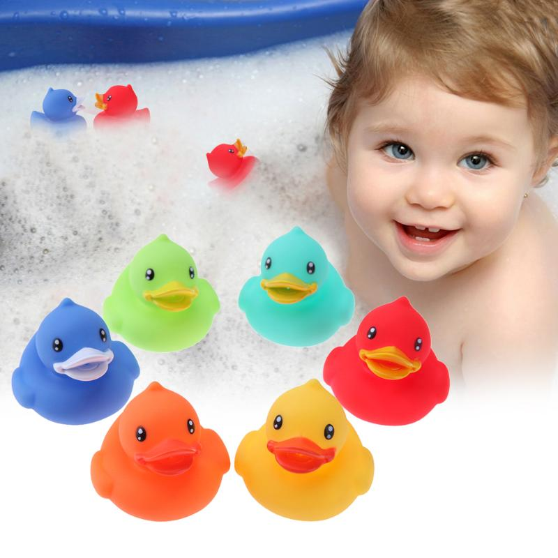 6pcs Vinyl Duck Swimming Toy Durable Floating Baby Bathing Playing Toy Swimming Pool Float Vinyl Toys