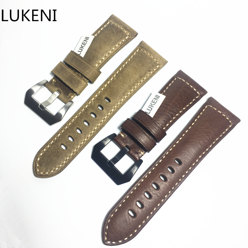 LUKENI 24mm 26mm Genuine Brown Italy Calf Leather Vintage Watch Strap With Buckle Watchband Men Belt for PANERAI PAM111 44MM new arrive top quality oil red brown 24mm italian vintage genuine leather watch band strap for panerai pam and big pilot watch