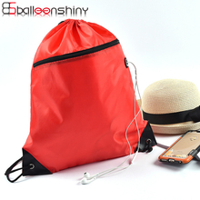 BalleenShiny Polyester Drawstring Backpack Storage Bags Zipper Cloth Shoes Travel Ride Sundries Organizer Sports Gym Pouch