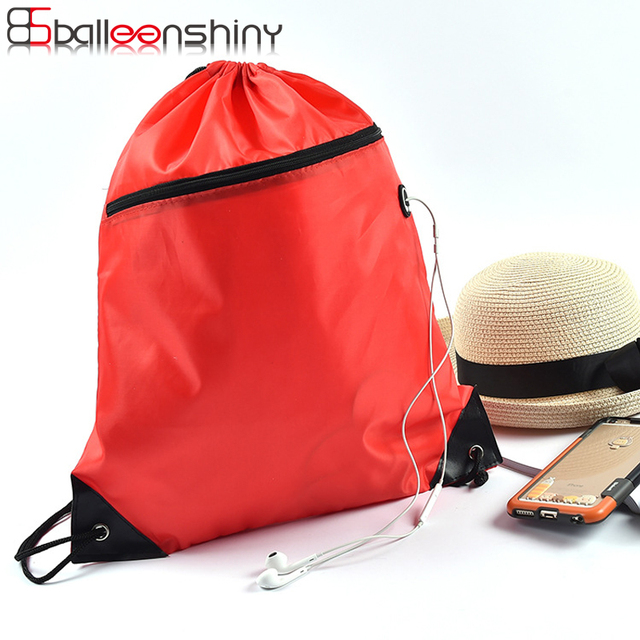 BalleenShiny Polyester Drawstring Backpack Storage Bags Zipper Cloth Shoes Travel Ride Sundries Organizer Sports Gym Pouch Bags
