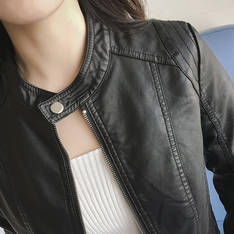 FTLZZ New Spring Kunstlederjacke Frauen Slim Vintage Schwarz Weiche - Damenbekleidung - Foto 4