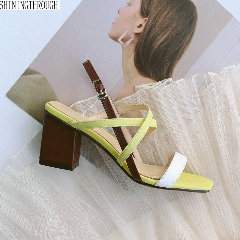 New women sandals genuine leather thick high heels sandals woman mixed colors cross buckle ladies dress