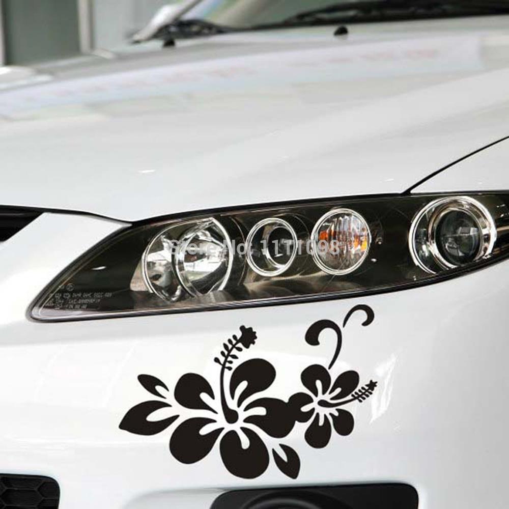 Car sticker design black - Newest Design Car Styling Plant Flowers Decal Decoration Accessories For Tesla Volkswagen Renault Opel Lada