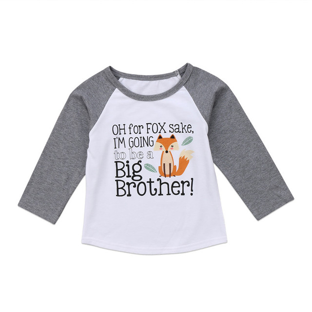 2db2145c7 Cute Toddler Infant Big Brother Tops Baby Boys Clothes Long Sleeve Fox T- shirt Cotton