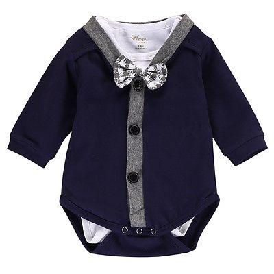 2PCS Set Autumn Spring Cotton Newborn Baby Boy Cardigans Sweatshirt +Romper Jumpsuit Outfits Gentleman Clothes the spring and summer of 2018 newborn baby clothes jumpsuit romper cotton short sleeved