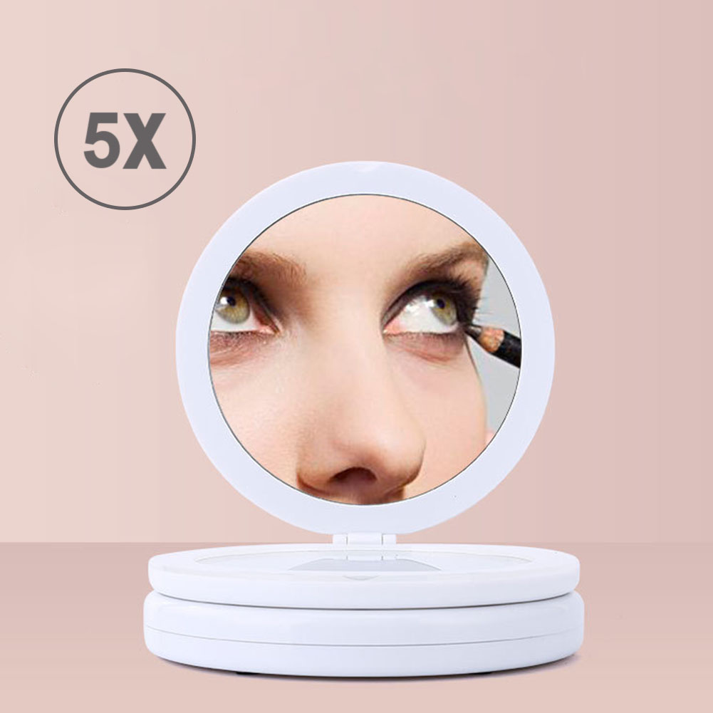 Portable 5X Magnifying Makeup Mirror with LED Light  Folding Round Double-sided Makeup Mirror Beauty Tool For Photo Fill LightPortable 5X Magnifying Makeup Mirror with LED Light  Folding Round Double-sided Makeup Mirror Beauty Tool For Photo Fill Light