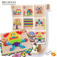Wood Crafts slices wood Children's puzzle toy wooden mushroom nail assembly board Mental development puzzle board for children