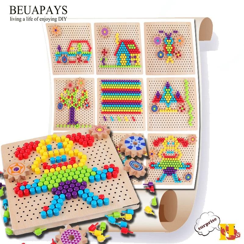 Bois Artisanat tranches de bois Enfants puzzle jouet en bois champignon nail montage conseil Mentale développement bord de puzzle pour enfants