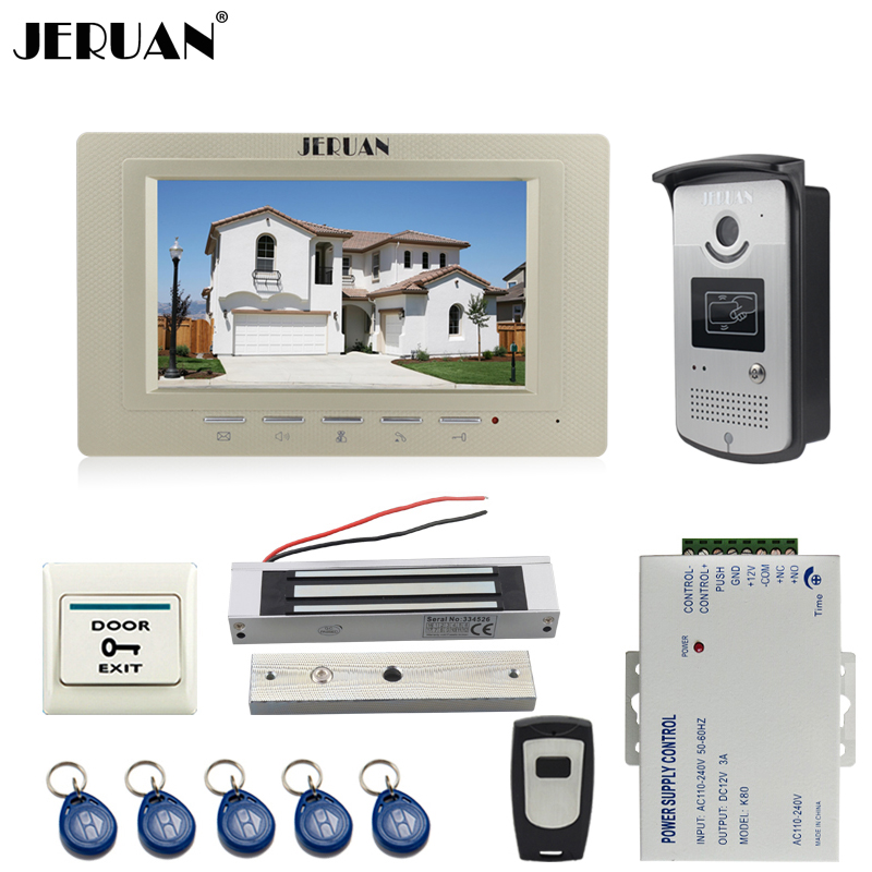 JERUAN Home 7 inch color LCD video door phone intercom system kit  700TVL RFID Access waterproof Camera 180Kg Magnetic lock jeruan two 7 monitors lcd screen video intercom video door phone handsfree access control system 700tvl camera cathode lock