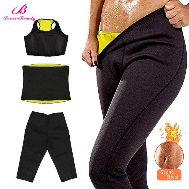 Women Neoprene Body Shaper Set Slim Waist Pants Belt Sweat Sauna Body Shaper Slimming Vest Thermo Neoprene Waist Trainer Top